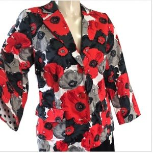 JOAN RIVERS bold RED/BLACK Poppies jacket 4+GIFT